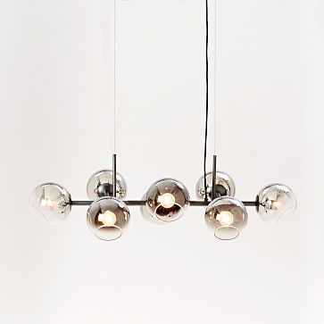 Staggered Glass Chandelier With Light Bulb, 8-Light, Silver & Antique Bronze