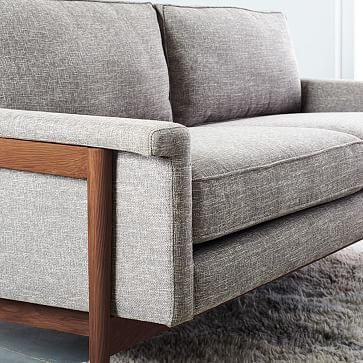 "Leon Wood Frame 68"" Sofa, Performance Coastal Linen, Stone White, Pecan"