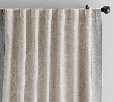 "Emery Border Linen/Cotton Grommet Curtain, 50 X 84"", Oatmeal/Gray"