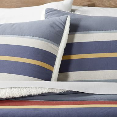 Stow Stripe Sherpa Comforter, Full/Queen, Multi