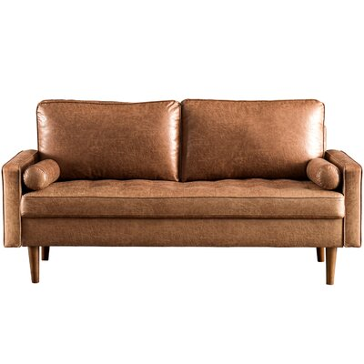 """Garzon 69.68"""" Wide Leather Match Square Arm Loveseat"""