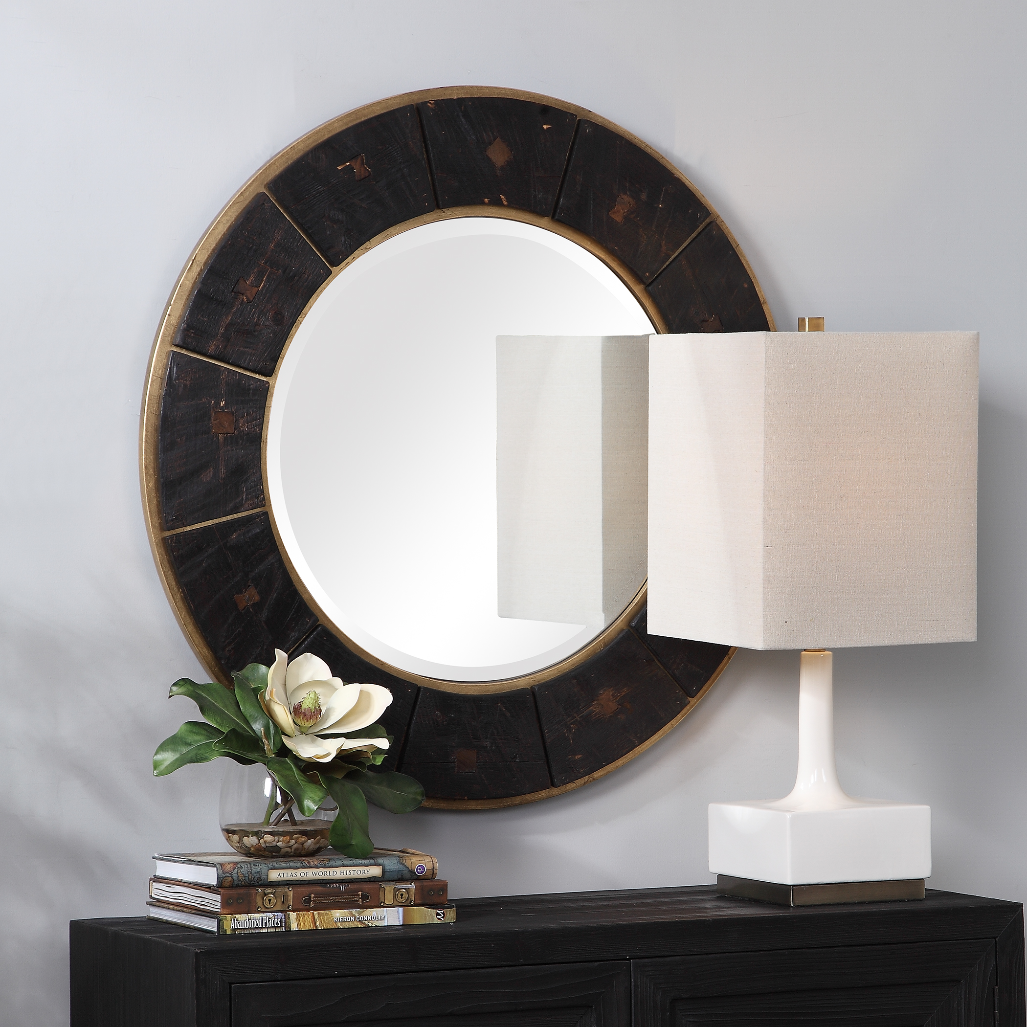 Kerensa Dark Wood Round Mirror