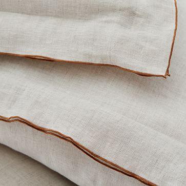 European Flax Linen Merrow Edge Duvet, King Set, Natural/Terracotta