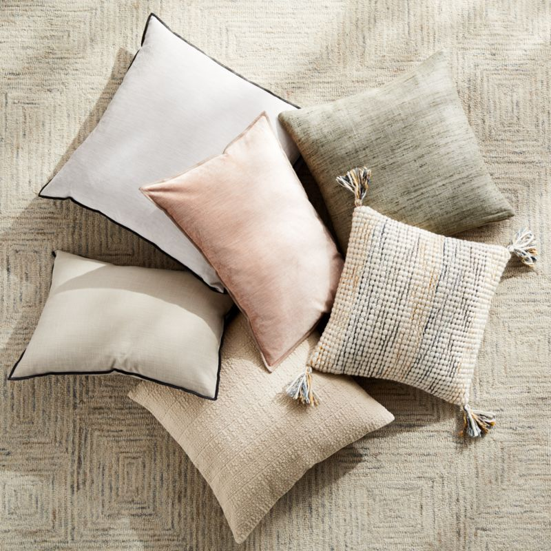 """Bari 20"""" Baked Clay Knitted Pillow with Feather-Down Insert"""
