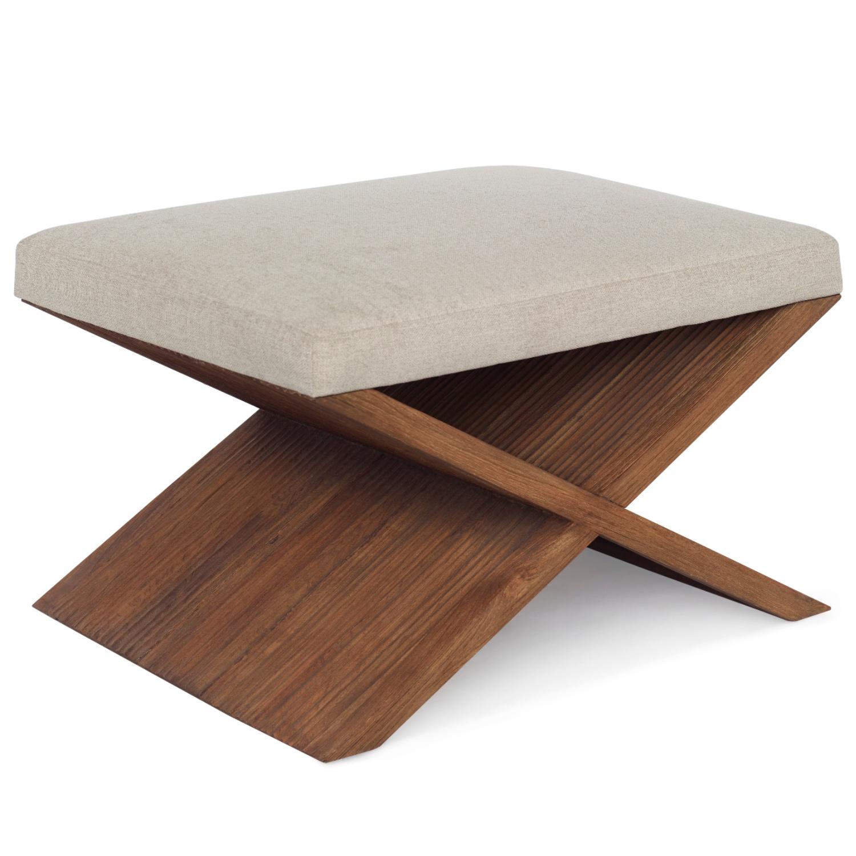 Ariah Coastal Beach Beige Fabric Upholstered Brown Teak Wood Stool