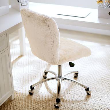 Polar Bear Faux-Fur Airgo Armless Swivel Desk Chair