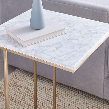 Streamline C-Side Table, Marble, Antique Bronze, Set of 2