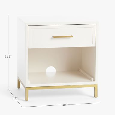 Blaire Nightstand, Lacquered Simply White, UPS