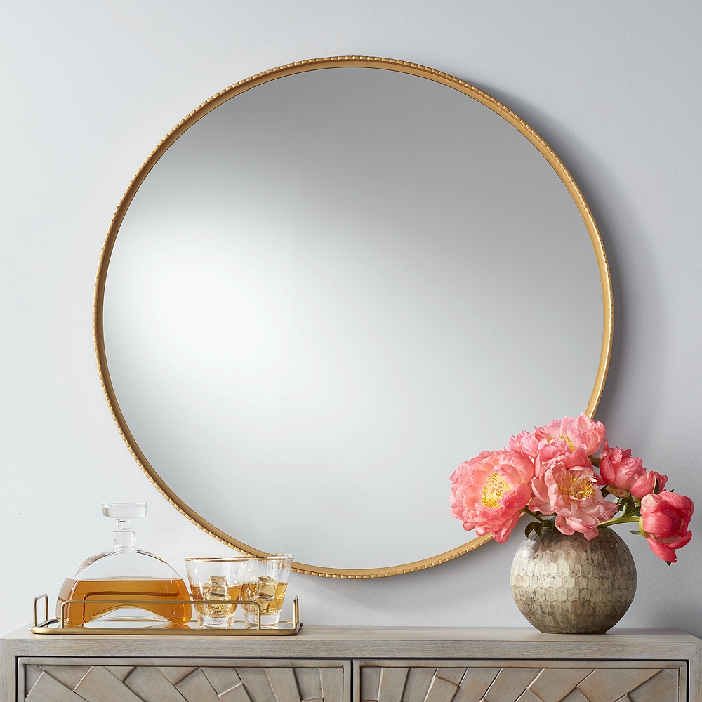 """Cally Gold 31 1/2"""" Round Metal Wall Mirror - Style # 76A82"""