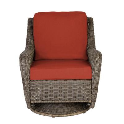 Hampton Bay Cambridge Gray Wicker Outdoor Patio Swivel Rocking Chair with CushionGuard Quarry Red Cushions