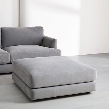 Haven Ottoman, Poly, Performance Washed Canvas, Storm Gray, Concealed Supports