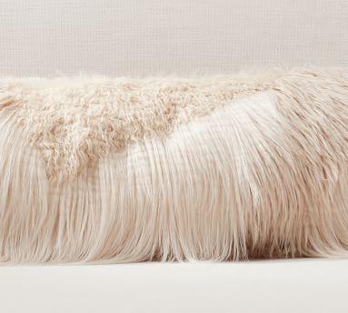"Mongolian Patchwork Faux Fur Long Lumbar Cover, 12 x 48"" , Ivory"