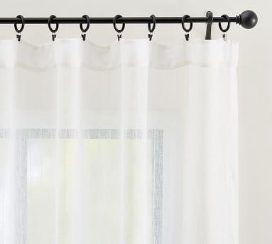 "Emery Pinstripe Rod Pocket Sheer Curtain, 50 x 96"", White"