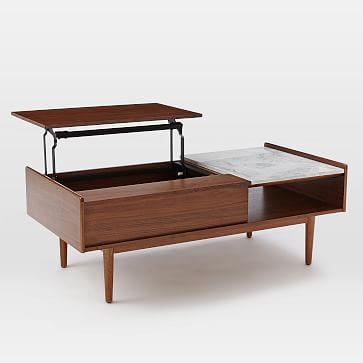 "Mid Century Pop Up Coffee Table, 48""x24"", Marble + Walnut"