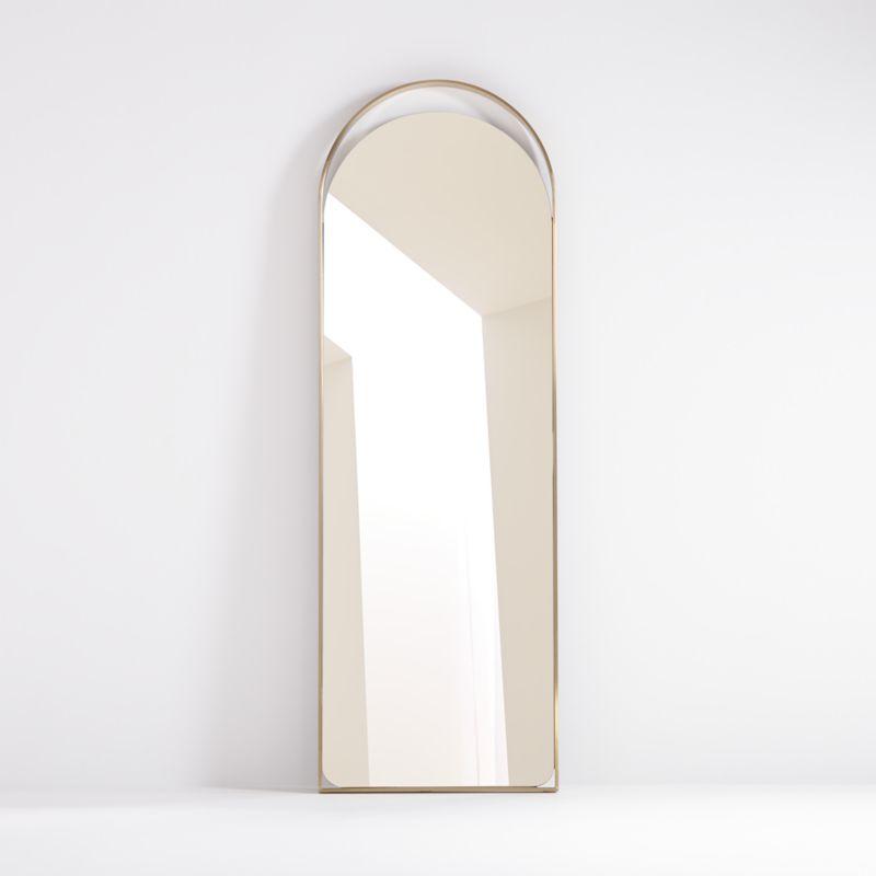 Aosta Brass Arch Cutout Floor Mirror
