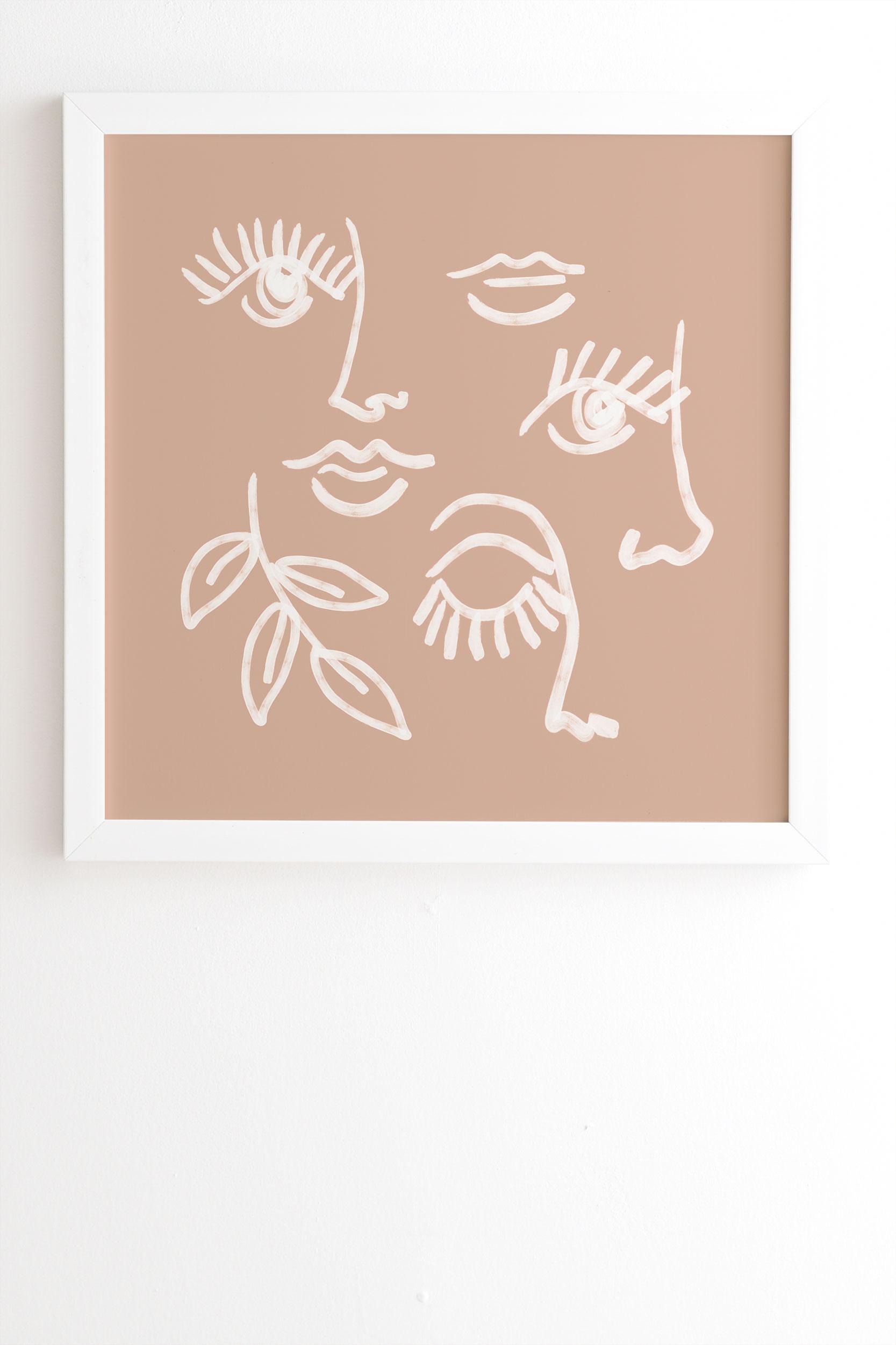 "Line Art Portraits On Pink by Emanuela Carratoni - Framed Wall Art Basic White 8"" x 9.5"""