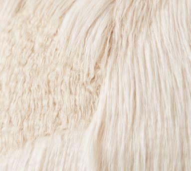 "Mongolian Patchwork Faux Fur Bean Bag, 41"", Ivory"