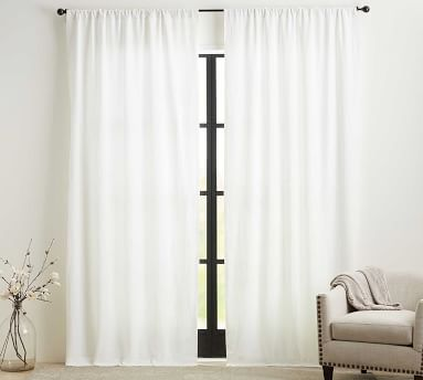 "Custom Classic Belgian Flax Linen Rod Pocket Blackout Curtain, White, 96 x 144"""