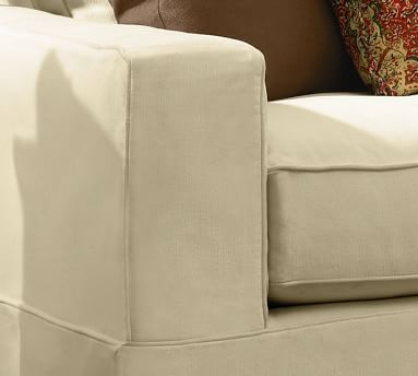 """PB Comfort Square Arm Upholstered Sofa 77"""", Box Edge Down Blend Wrapped Cushions, Chenille Basketweave Pebble"""
