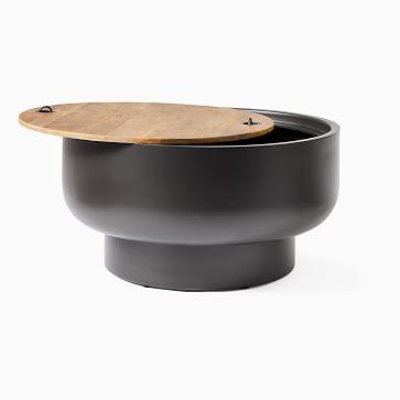 Drum Storage Coffee Table, Walnut/Antique Brass