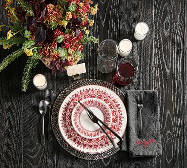 Tahoe Fair Isle Stoneware 16-Piece Dinnerware Set - White/Red