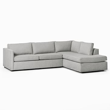 """Harris Sectional Set 09: LA 65"""" Sofa, RA Terminal Chaise, Poly , Chenille Tweed, Storm Gray, Concealed Supports"""