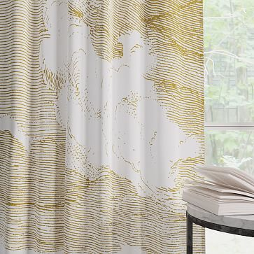 """Cotton Canvas Etched Cloud Curtains, 48""""x96"""", Dark Horseradish (Set of 2)"""