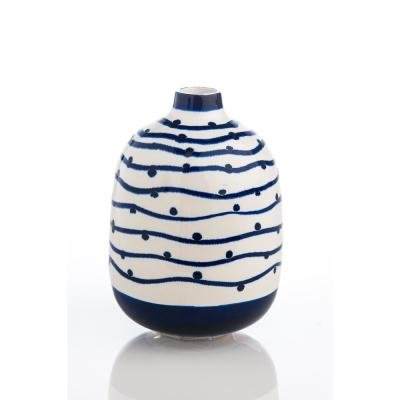 Abigails Navy Wave Vase with Dots, Blue & White