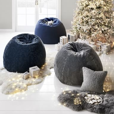 Chamois Bean Bag Chair Slipcover and Insert, Midnight/Blue, Large