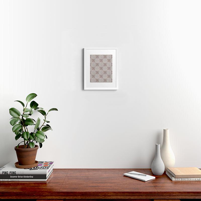 "Mud Cloth Tile Stone Rust by Little Arrow Design Co - Modern Framed Art Print, White, 11"" x 14"""
