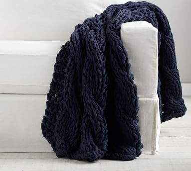 """Colossal Handknit Throw, 44 x 56"""", Chambray"""