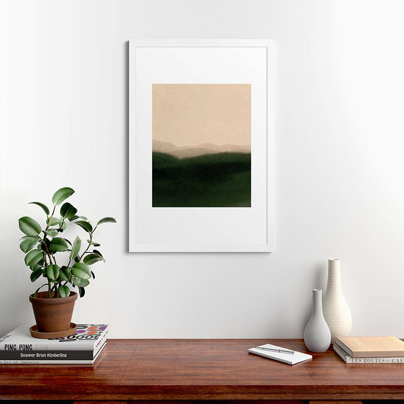 "Green Hills by Iris Lehnhardt, Classic Framed Art Print, White, 24"" x 36"""
