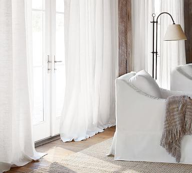 "Emery Linen Poletop Drape, 100 x 84"", White, Cotton Lining"