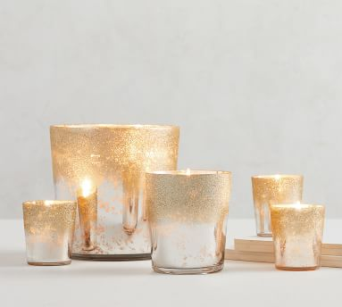 Glitter Mercury Glass Scented Candle - Frosted Fir & Chestnut, Gold, Large, 38.8oz.