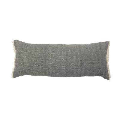 LR Home Charcoal Gray Solid Fringed 14 in. x 36 in. Cotton Throw Pillow