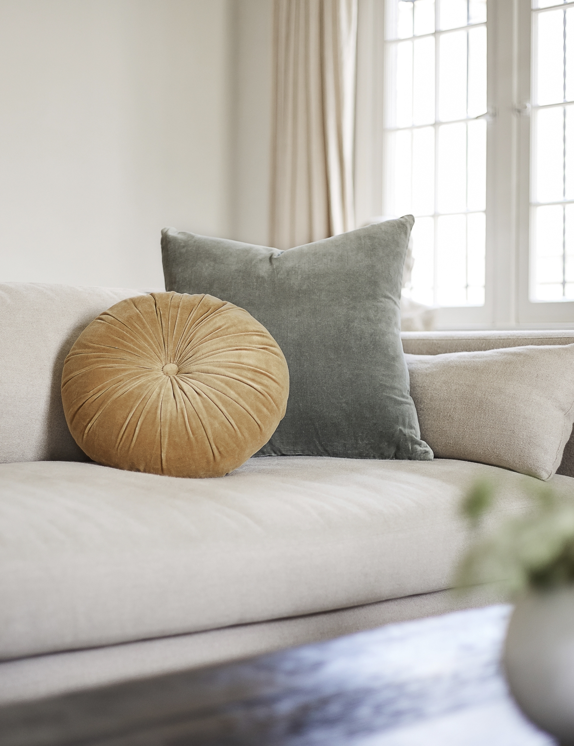 Charlotte Velvet Pillow, Moss