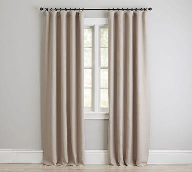 """Custom Classic Belgian Flax Linen Rod Pocket Blackout Curtain, Dark Flax, 78 x 90"""""""