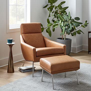Austin Chair, Ludlow Leather, Mace, Dark Pewter