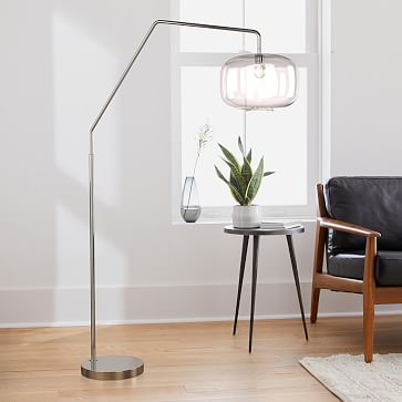 Sculptural Overarching Floor Lamp, Pebble Small, Clear, Antique Brass