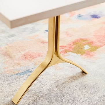 """Avery 74"""" Wishbone Dining Table, Winter Wood, Antique Brass"""