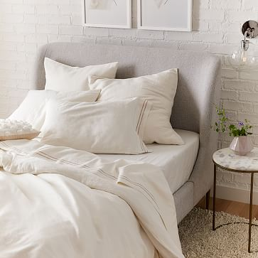 Lana Upholstered Bed, Queen, Yarn Dyed Linen, Weave, Alabaster