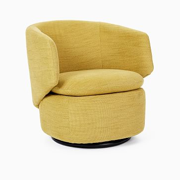 Crescent Swivel Chair, Poly, Basket Slub, Pearl Gray, Concealed Supports