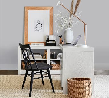 Dillon Peninsula Desk with Bookcase, Montauk White