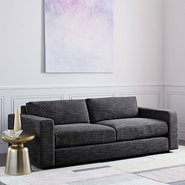 """Urban 84.5"""" Sofa, Down Blend, Performance Velvet, Silver, Concealed Supports"""