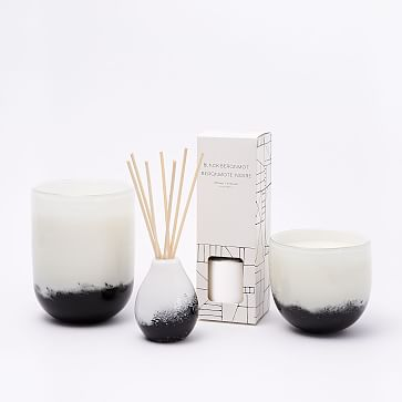 Black + White Speckled Glass Candle, Medium