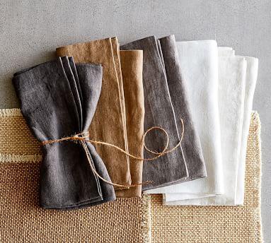 Mason Oversized Linen Napkins, Set of 4 - Ivory