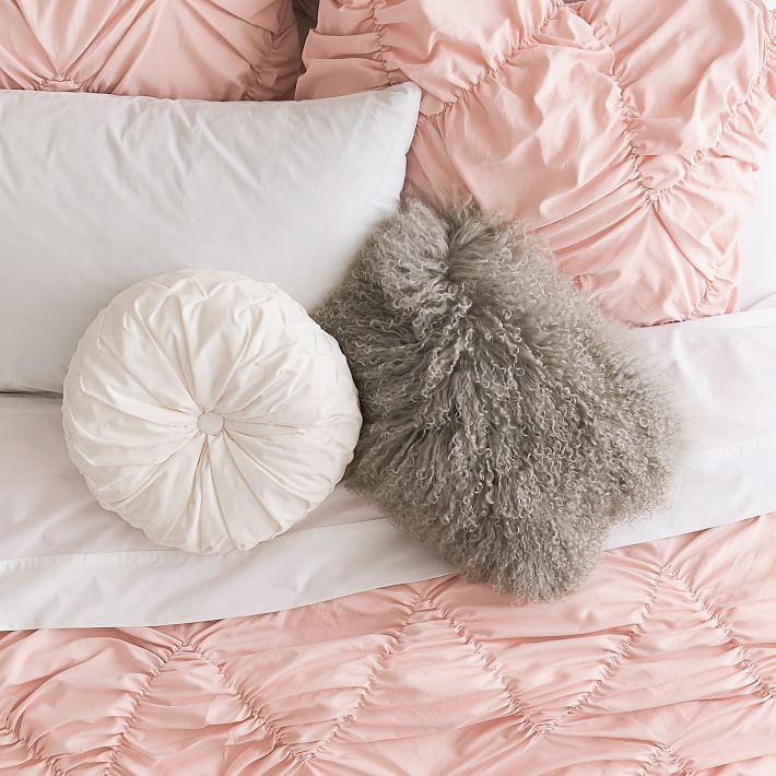 "Mongolian Fur Lumbar Pillow Cover, 16"" x 12"", Light Gray"