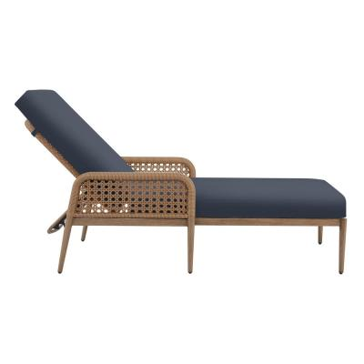 Hampton Bay Coral Vista Brown Wicker Outdoor Patio Chaise Lounge with CushionGuard Sky Blue Cushions