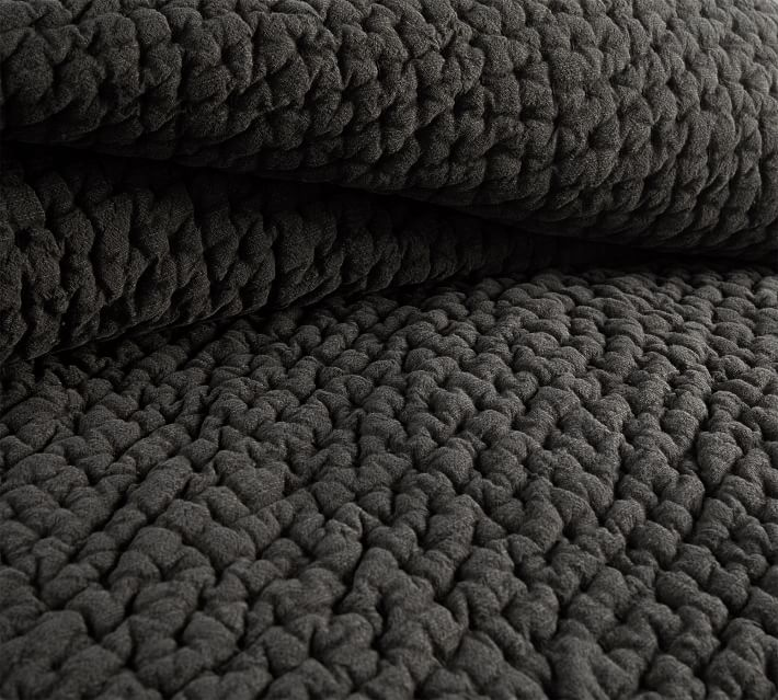 Stonewashed Pickstitch Cotton Quilt, King/Cal King, Shale