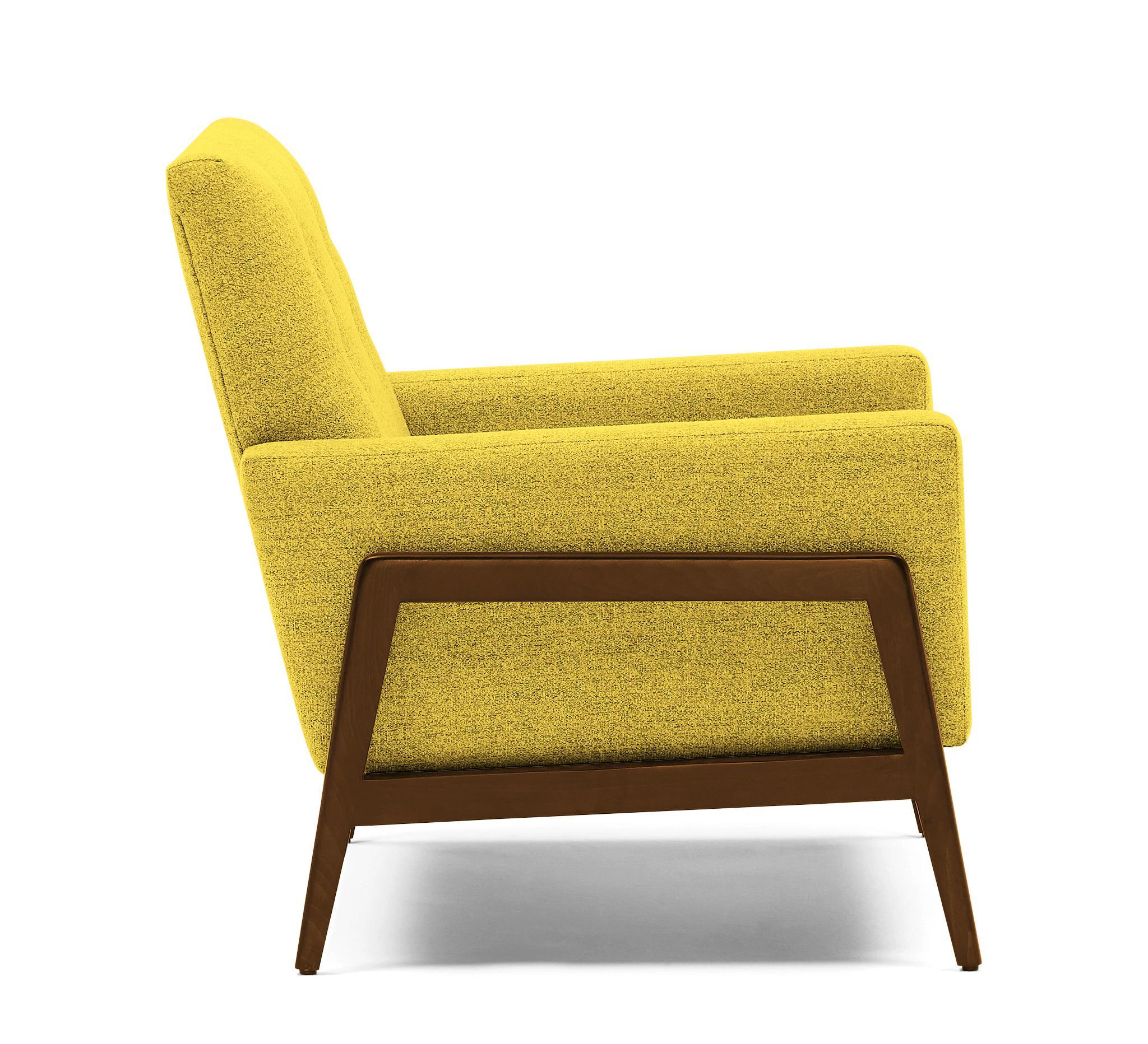 Yellow Clyde Mid Century Modern Chair - Taylor Golden - Mocha